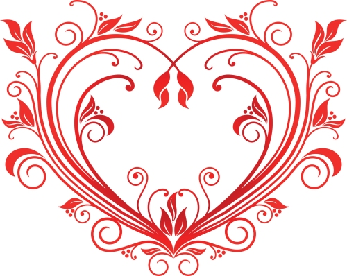 red floursihed heart