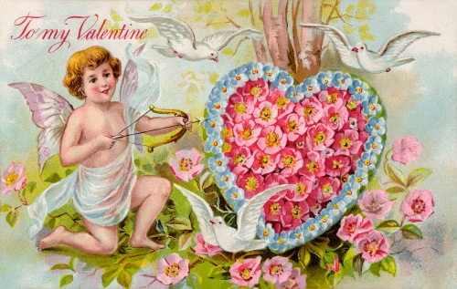 Vintage Valentine Art - Cupid and Heart-Shaped Flower Wreath