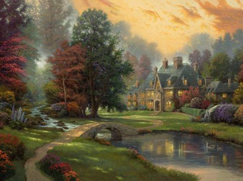 landscape-thomas-kinkade-painting-cottage-river-ducks-bridge-trees-sunset
